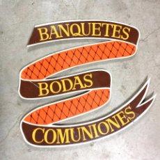 Vintage: LETRERO DE MADERA VINTAGE PINTADO A MANO, BODAS BANQUETES Y COMUNIONES! (SOLO RECOGIDA). Lote 45553367