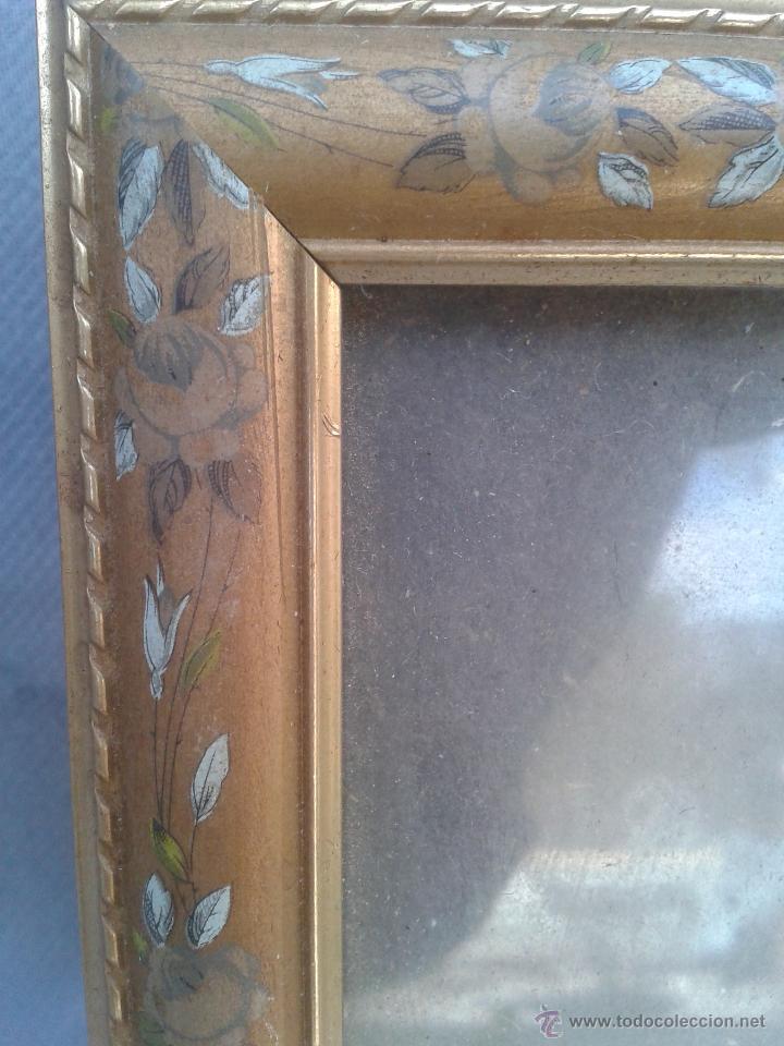 Vintage: Marco de madera pirograbada hojas flores Portaretratos porta fotos - Foto 2 - 45786593