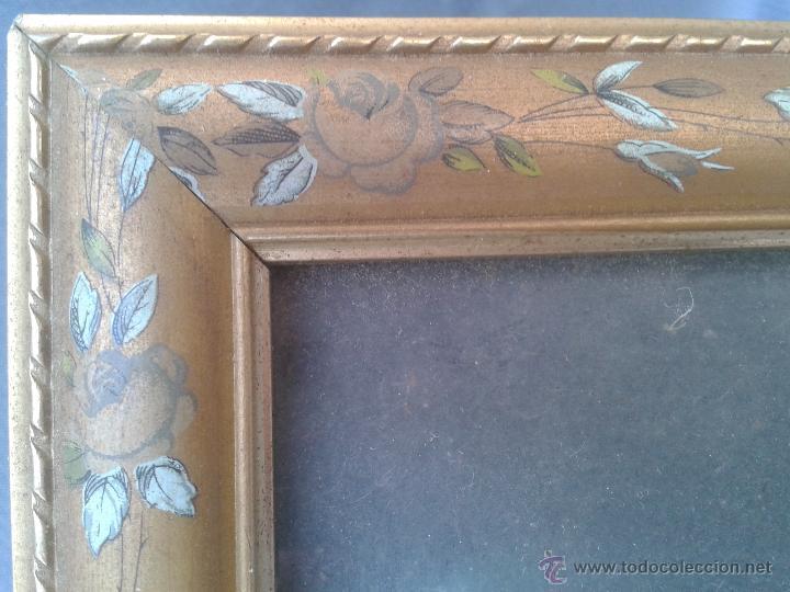 Vintage: Marco de madera pirograbada hojas flores Portaretratos porta fotos - Foto 3 - 45786593