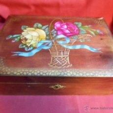 Vintage: CAJA DE MADERA CON ESPEJO - JOYERO - COSTURERO -. Lote 45831571