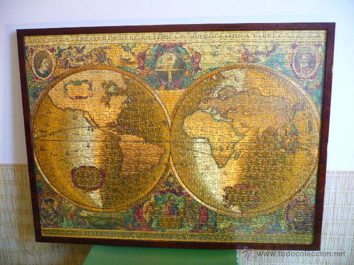 Antigua mapa mundi enmarcada con cristal grande comprar for Mesa cristal mapamundi