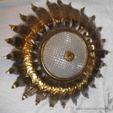 Vintage: FABULOSA LÁMPARA - ESPEJO - SOL - DE HIERRO DORADO - VINTAGE . Lote 46136468