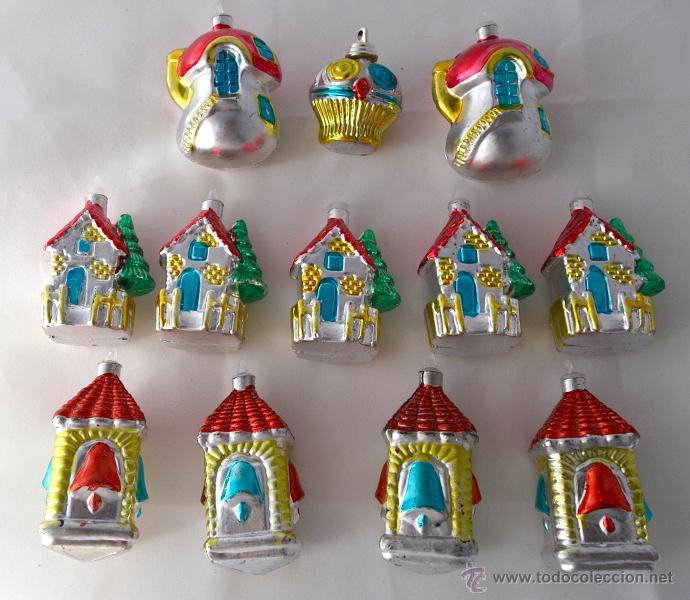 lote de adornos navideos para el arbol vintage aos navidad casas campanarios setas