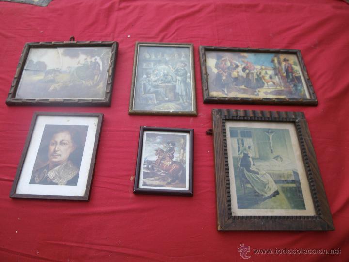 LOTE DE 6 CUADROS ANTIGUOS ,, MUY BONITOS , IDEAL RESTAURADORES (Vintage - Decoración - Varios)