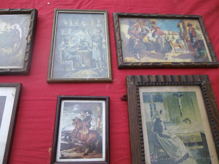 Vintage: LOTE DE 6 CUADROS ANTIGUOS ,, MUY BONITOS , IDEAL RESTAURADORES - Foto 3 - 46470564