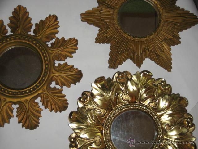 3 espejos sol de resina muy vintage comprar en todocoleccion 46946556 - Espejos de resina ...