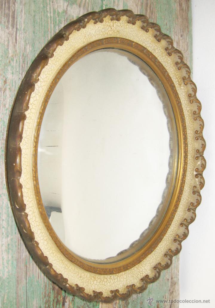 Espejo Convexo Antiguo En Madera Dorada Y Efect Comprar