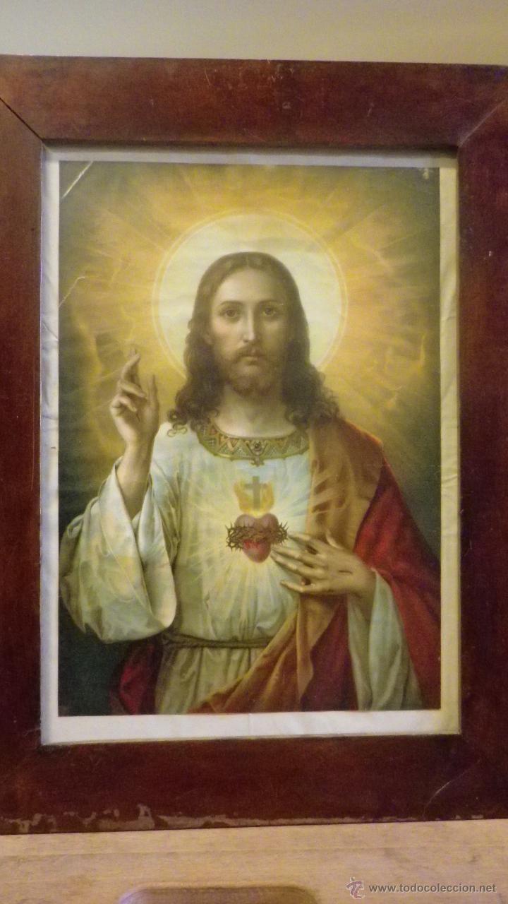 Cuadro marco antiguo sagrado corazon de jesus a comprar for Marco cuadro antiguo