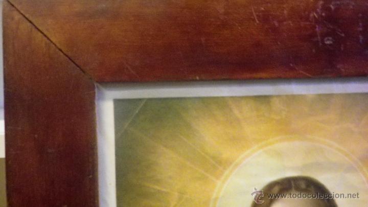 Vintage: Cuadro marco antiguo sagrado corazon de Jesus años 50 - Foto 2 - 50716338
