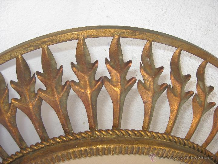 Vintage: UNICO! GRAN MARCO HIERRO METAL FORJA HOJAS TIPO SOL PARA ESPEJO O LAMPARA VINTAGE - Foto 3 - 47697622