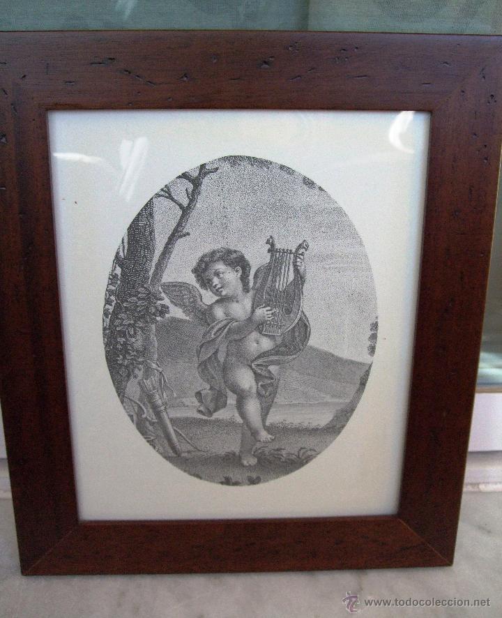 vintage litografia angel con arpa . cuadro con - Comprar en ...