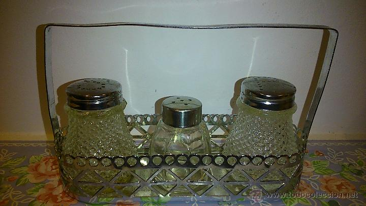 Vintage: set de salero y pimentero. cristal y acero inoxidable - Foto 2 - 47922882
