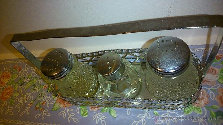 Vintage: set de salero y pimentero. cristal y acero inoxidable - Foto 3 - 47922882