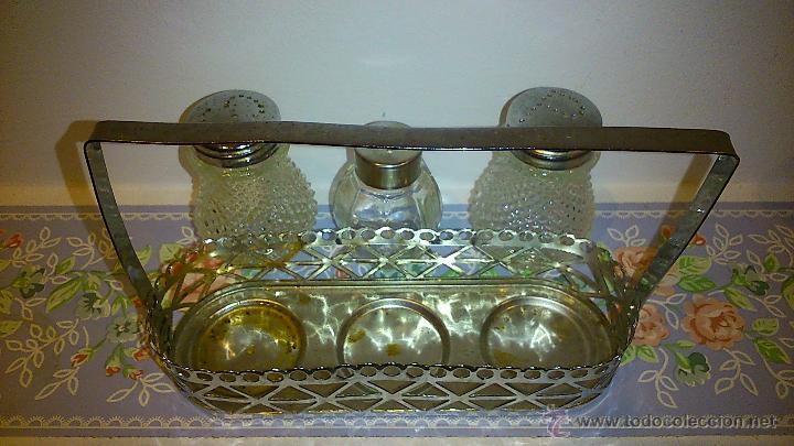 Vintage: set de salero y pimentero. cristal y acero inoxidable - Foto 4 - 47922882