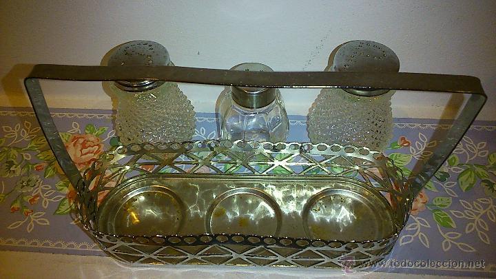Vintage: set de salero y pimentero. cristal y acero inoxidable - Foto 5 - 47922882