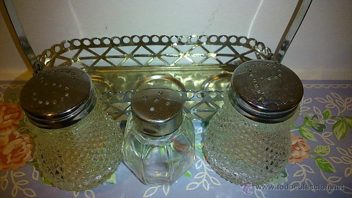Vintage: set de salero y pimentero. cristal y acero inoxidable - Foto 6 - 47922882