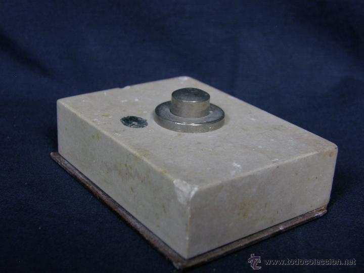 Vintage: timbre de mesa marmol boton metal años 40 50 2,2x7,5x5,5cms - Foto 2 - 48340840