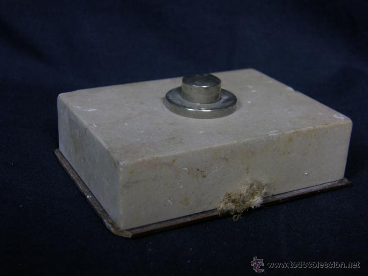 Vintage: timbre de mesa marmol boton metal años 40 50 2,2x7,5x5,5cms - Foto 3 - 48340840