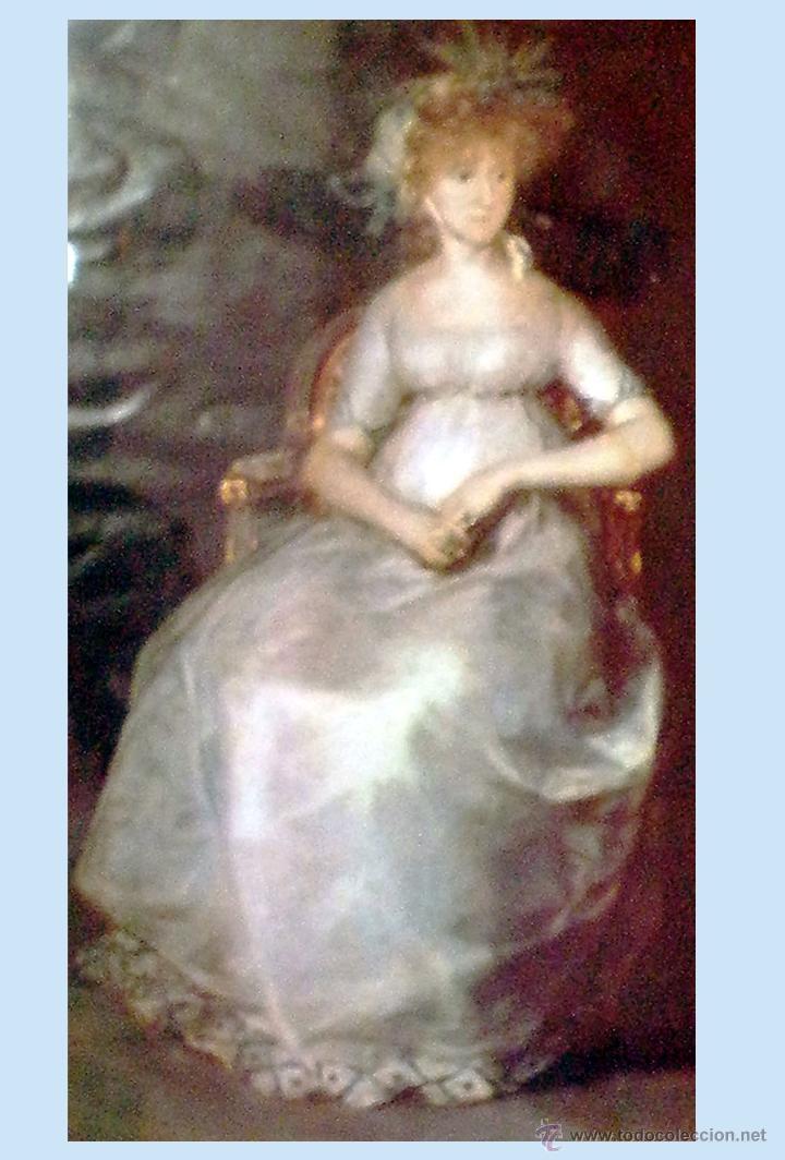 Vintage: LAMINA ANTIGUA CON FOTO DE SRA. CON VESTIDO DE ENCAJE DE EPOCA Y TOCADO. 22 X 32,5 cm. ENMARCADO. - Foto 2 - 48340998