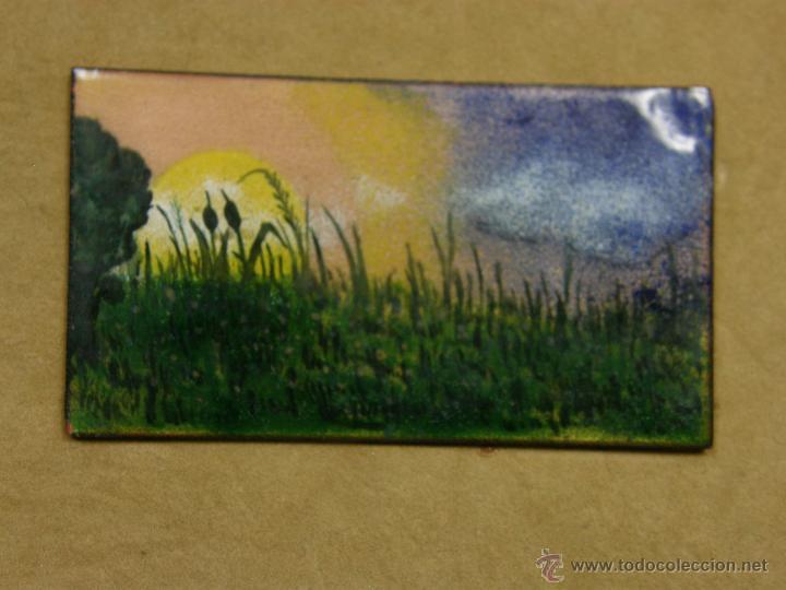 Vintage: placa de esmalte sobre cobre paisaje lacustre lago amanecer juncos mitad s XX 17,7x22cm - Foto 2 - 48393725