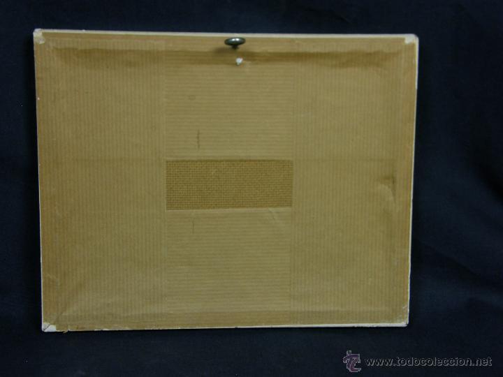 Vintage: placa de esmalte sobre cobre paisaje lacustre lago amanecer juncos mitad s XX 17,7x22cm - Foto 6 - 48393725