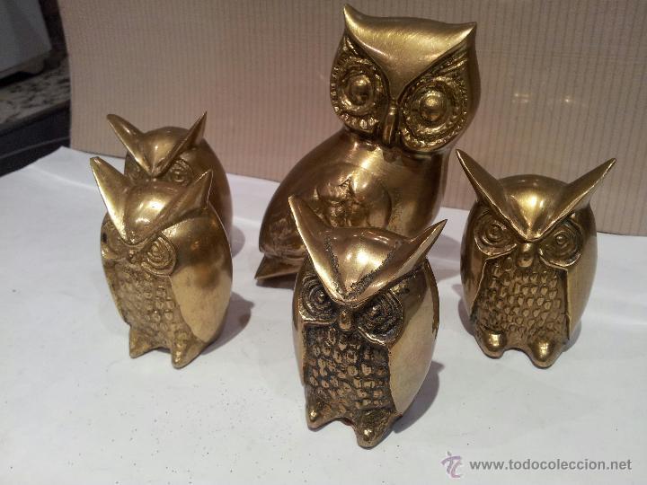 Vintage: buhos en metal bronce o similar - Foto 3 - 48516584