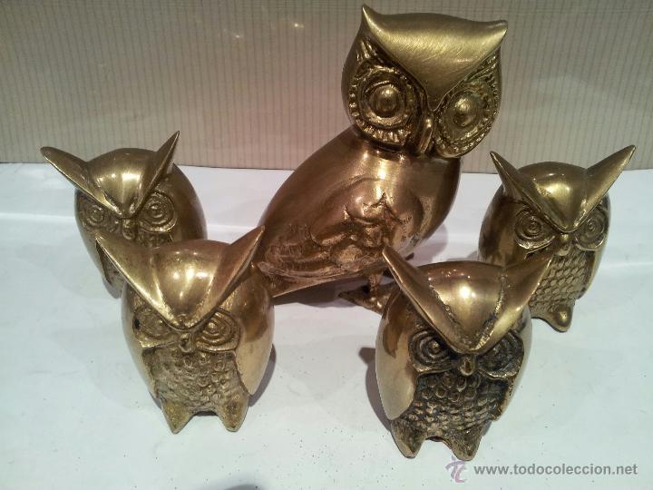 Vintage: buhos en metal bronce o similar - Foto 4 - 48516584