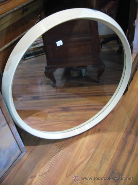 Espejo marco de plastico blanco redondo medida comprar for Espejo redondo blanco