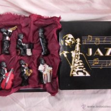 Vintage: BANDA DE JAZZ 6 FIGURAS MÚSICOS EN CAJA RESINA. Lote 48599729