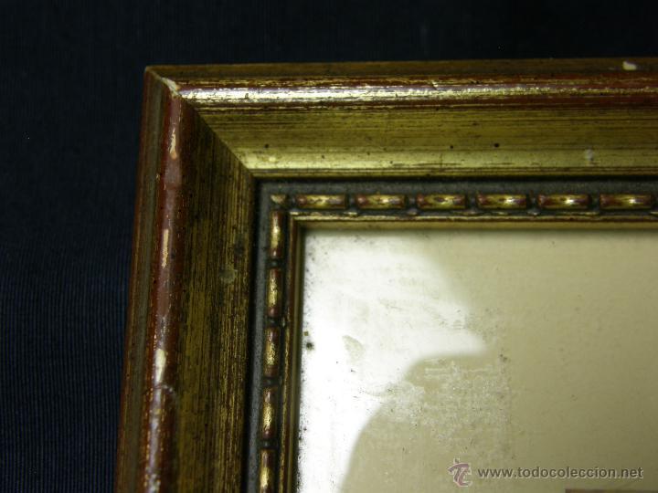 Vintage: marco madera estucada dorada perlado oval decorativo lamina madre hijos 42,5x36cms - Foto 3 - 181292520