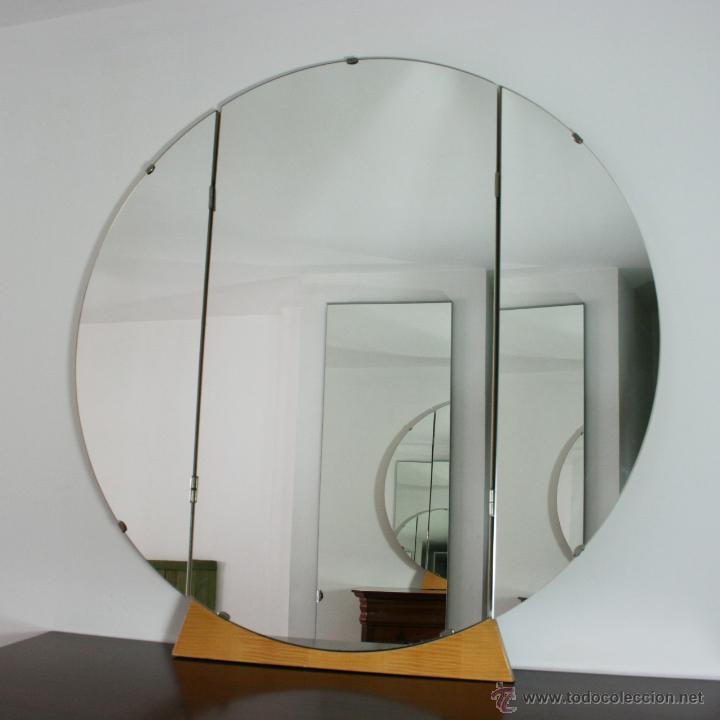 Gran espejo tr ptico circular comprar en todocoleccion for Espejo circular