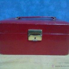 Vintage: CAJA JOYERO DE VIAJE MALETIN PIEL GRANATE PARA RESTAURAR. Lote 49124554