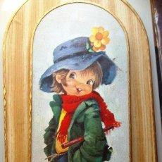 Vintage: DIBUJO DE I.VERNET: BONITO CUADRO INFANTIL OVALADO: NIÑO CON GATITO (AÑOS 70).. Lote 49161313