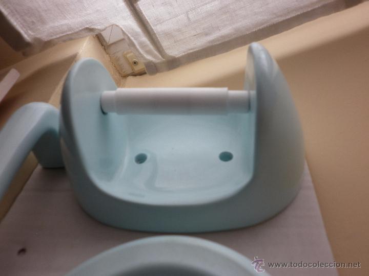 Set de 5 piezas para ba o color azul a os 70 to comprar for Porta jabonera para bano