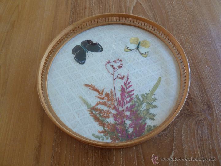 Vintage: f 1005 Bandeja bambu con cristal decorado con mariposas y flores naturales años 70 - Foto 2 - 49265884