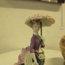 Vintage: FIGURA RESINA, DAMA CON PARAGUAS,- SOMBRILLA , 28CM .REF500-. Lote 49296234