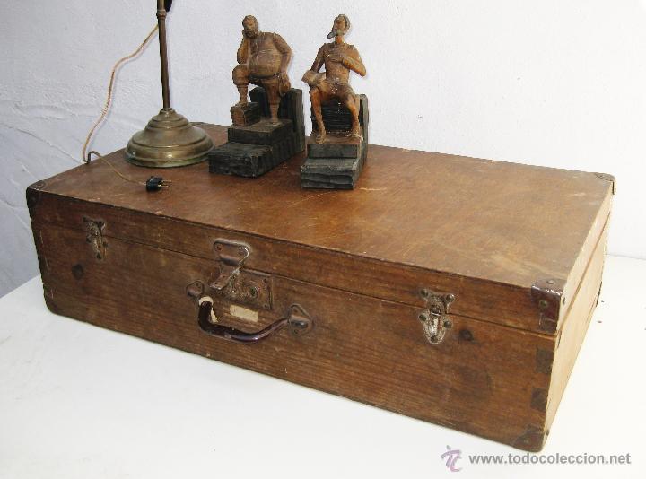 Enorme maleta antigua madera ideal uso o almace comprar for Maletas antiguas online