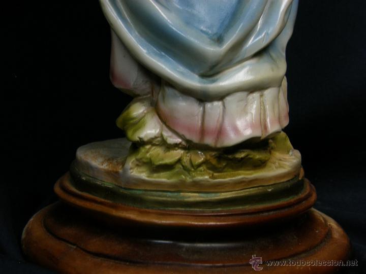 Vintage: figura escayola ceramica pastora siguiendo modelos ramón amadeu mitad s XX 55x19cms - Foto 4 - 49690208
