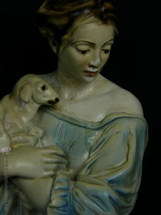 Vintage: figura escayola ceramica pastora siguiendo modelos ramón amadeu mitad s XX 55x19cms - Foto 8 - 49690208