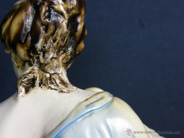Vintage: figura escayola ceramica pastora siguiendo modelos ramón amadeu mitad s XX 55x19cms - Foto 13 - 49690208