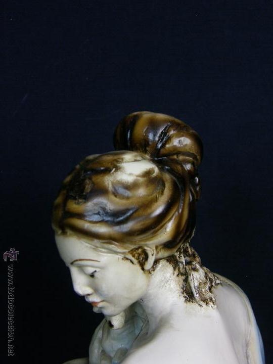 Vintage: figura escayola ceramica pastora siguiendo modelos ramón amadeu mitad s XX 55x19cms - Foto 14 - 49690208
