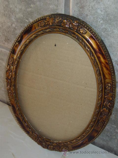 Antiguo cuadro marco ovalado de madera tallad comprar for Marco cuadro antiguo