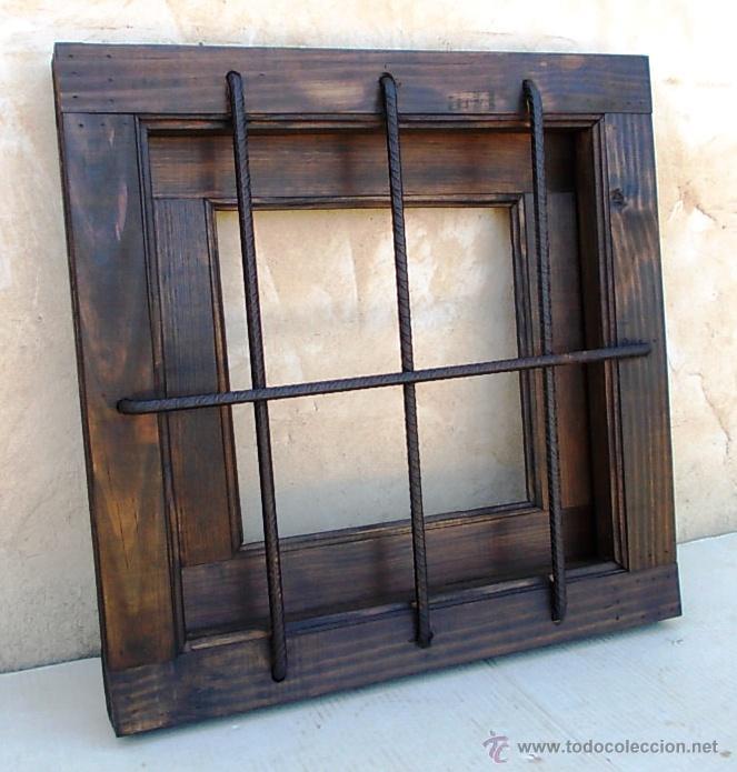 ventana rustica madera con rejas en cruz for comprar