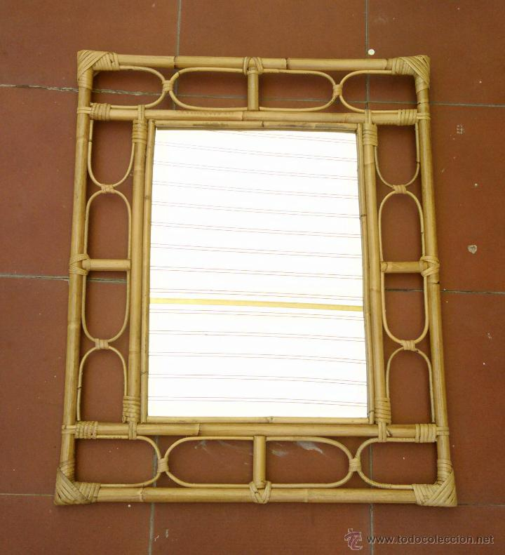 Espejo rectangular mimbre ca a bambu vintage comprar en todocoleccion 50720808 - Espejos de mimbre ...