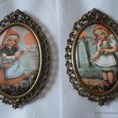 Vintage: DOS CUADROS TELA CON IMAGENES INFANTILES. Lote 51062319