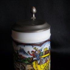 Vintage: JARRA DE CERVEZA DE COLECCIÓN EN OPALINA Y METAL ALEMANA. JARRA ALEMANIA. Lote 51111005