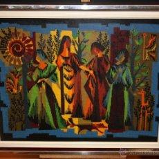Vintage: INTERESANTE BORDADO DE ESTILO KITSCH DE LOS AÑOS 60-70. Lote 51251630