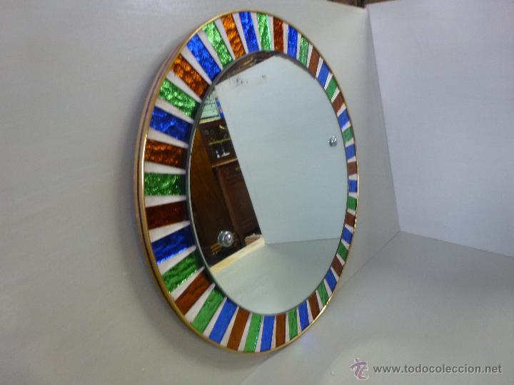 Espejo redondo tipo sol con cristales de color comprar for Espejo redondo vintage