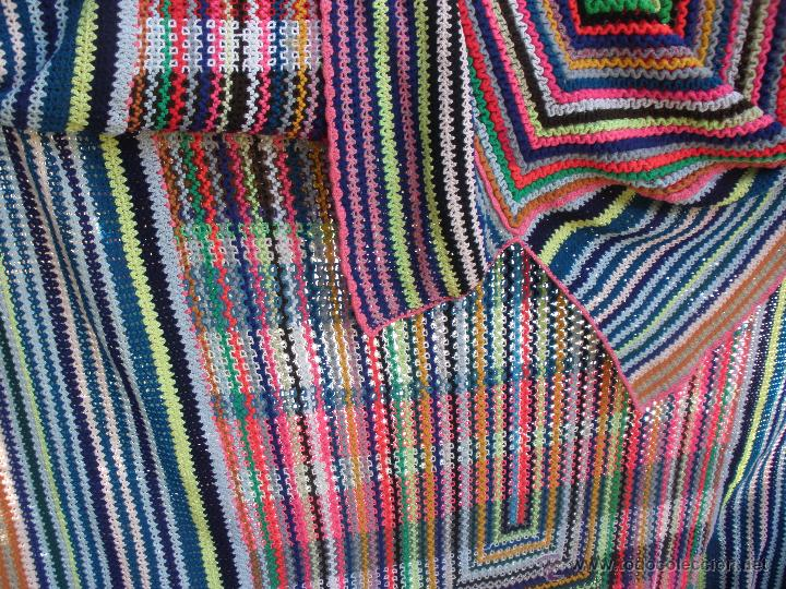 Vintage: Manta o Colcha multicolor en ganchillo para cama de 1,20 a matrimonio. Colcha ganchillo - Foto 3 - 51321849