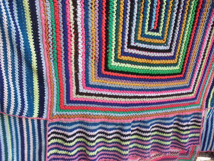 Vintage: Manta o Colcha multicolor en ganchillo para cama de 1,20 a matrimonio. Colcha ganchillo - Foto 4 - 51321849